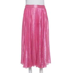 Gucci Pink Lurex Silk Pleated Midi Skirt S