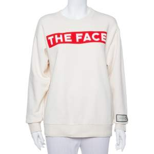 Gucci Cream The Face Printed Cotton Sweatshirt S
