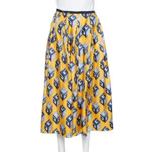 Gucci Yellow Cube Printed Silk Pleated Midi Skirt S