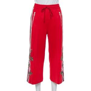 Gucci Red Knit Side Stripe & Floral Applique Detail Culottes XS