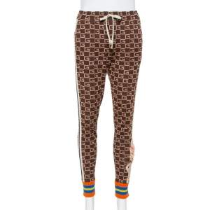 Gucci Brown Logo Intarsia Knit Side Stripe & Applique Detail Mid-Rise Trousers XS