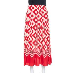 Gucci Red & Cream Geometric Printed Silk Midi Skirt S