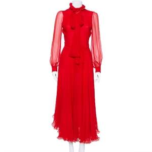 Gucci Red Silk Chiffon Collar Tie Belt Detail Flared Maxi Dress S