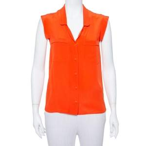 Gucci Orange Silk Sleeveless Shirt S