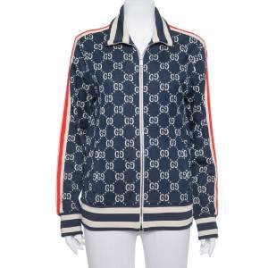 Gucci Navy Blue GG Jacquard Cotton Zipper Front Jacket M