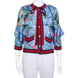 Gucci Blue Neck Tie Detail Flora Silk Jacket M