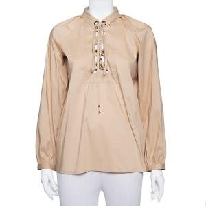 Gucci Beige Cotton Criss Cross Tie Detail Top M