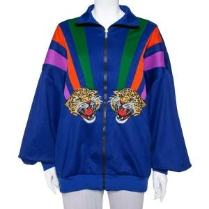 Gucci Multicolor Jersey Tiger Applique Detail Drop Shoulder Track Jacket L
