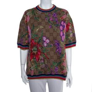 Gucci Beige Floral Jacquard Lurex Knit Logo Monogram Short Sleeve Sweater M