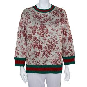Gucci Beige Knit Vintage Floral Print Lurex Web Stripe Detail Sweatshirt L