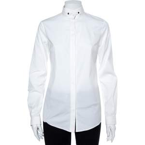 Gucci Equestrian White Cotton Button Front Shirt S
