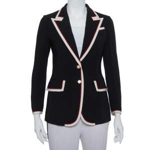 Gucci Black Crepe Trim Detail Blazer S