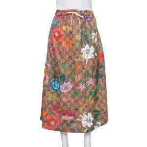 Gucci Multicolor Knit Logo Monogram Flora Print Flared Skirt L
