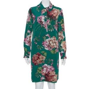 Gucci Green Blooms Printed Silk Shift Dress M