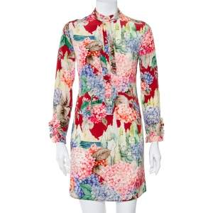 Gucci Multicolor Hydrangea Printed Silk Neck Tie Detail Shirt Dress S