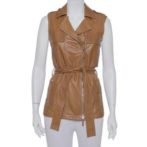 Gucci Brown Leather Sleeveless Belted Vest S