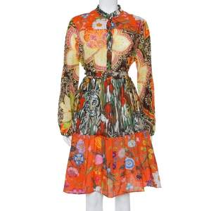 Gucci Multicolor Printed Cotton Belted Tiered Midi Dress L
