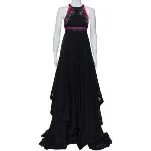 Gucci Black Embellished Silk Cutaway Asymmetrical Layered Gown S