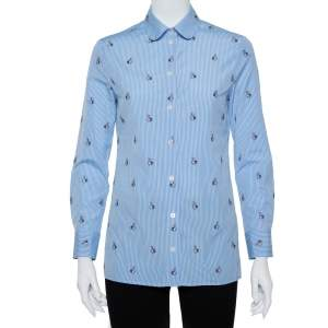 Gucci Blue Striped Cotton Rabbit Fil Coupe Detail Button Front Shirt S