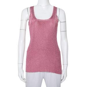 Gucci Pink Lurex Knit Tank Top XXS