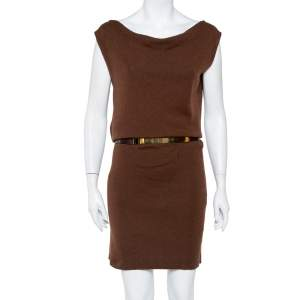 Gucci Brown Cashmere & Silk Cowl Neck Detail Belted Dress L