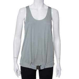 Gucci Grey Knit Leather Belt Detail Tank Top M
