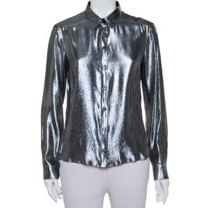 Gucci Metallic Lurex Silk Button Front Shirt M
