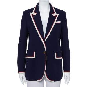 Gucci Navy Blue Crepe Contrast Trim Detail Button Front Blazer L