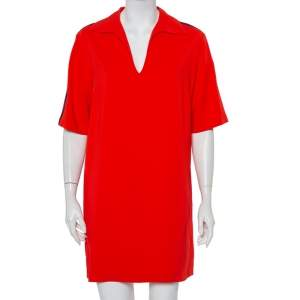 Gucci Red Crepe Shoulder Strip Detail Collared Tunic S