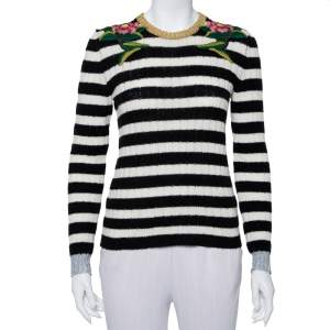 Gucci Monochrome Striped Knit Floral Embroidered Applique Sweater S