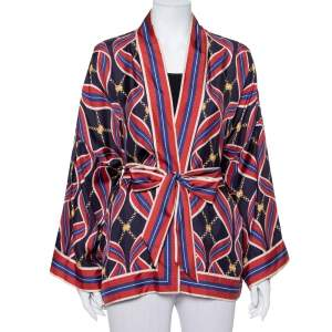 Gucci Navy Blue & Red Ribbon Printed Silk Open Fronted Belted Kimono Top M