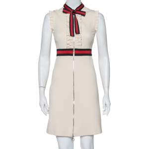 Gucci Cream Jersey Web Stripe Neck Tie Detail Zip Front Mini Dress XS