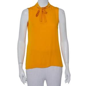Gucci Mustard Yellow Silk Pearl Buttoned Neck Tie Detail Sleeveless Top M