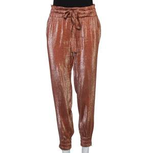 Gucci Rust Brown Lame' Waist Tie Detail Joggers S