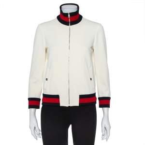 Gucci Off White Knit Striped Trim Detail Zip Front Jacket L