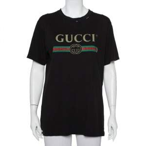 Gucci Black Cotton Logo Printed Distressed Oversized T-Shirt S