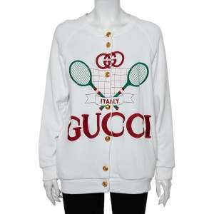 Gucci White Cotton & Silk Tennis Racket Embroidered Button Front Reversible Jacket S
