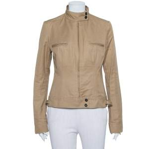 Gucci Camel Brown Cotton Canvas Stand Collar Jacket M