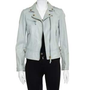 Gucci Mint Green Leather Zip Front Biker Jacket S