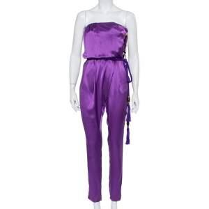Gucci Purple Silk Satin Belted Bustier Detail Strapless Jumpsuit S