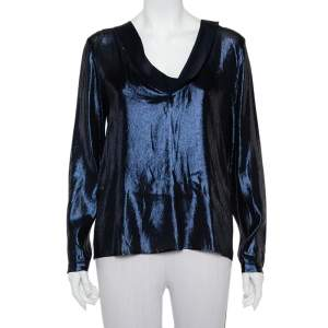 Gucci Metallic Blue Slit Back Detail Long Sleeve Blouse M