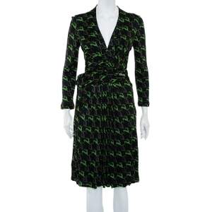 Gucci Black Deer Printed Knit Wrap Overlay Detail Midi Dress M