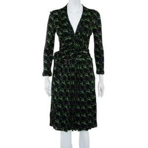 Gucci Black Deer Printed Knit Wrap Overlay Detail Midi Dress M