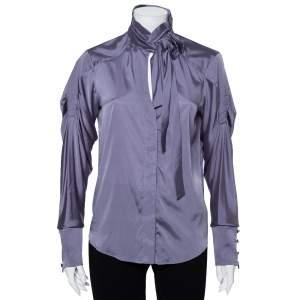 قميص غوتشي أزرار أمامية تفاصيل ربطة فيونكة رقبة حرير رمادي مقاس متوسط