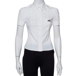 قميص غوتشي مكسم تفاصيل كم منفوخ قطن أبيض مقاس صغير