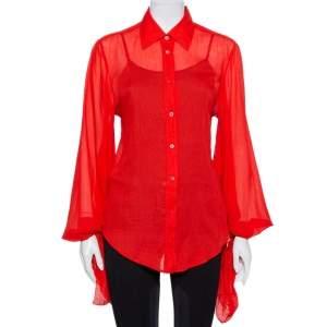قميص غوتشي أزرار أمامية ربطة أكمام قطن أحمر مقاس متوسط
