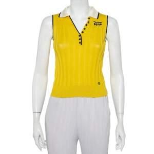 Gucci Yellow Linen & Silk Knit Contrast trim Detail Sleeveless Polo T-Shirt XS