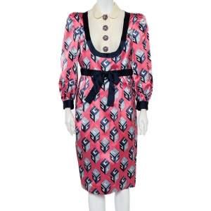فستان غوتشي ميدي حزام ساتان حرير طباعة مكعب وردي مقاس متوسط