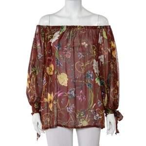 Gucci Brown Flora Print Silk Chiffon off Shoulder Top S