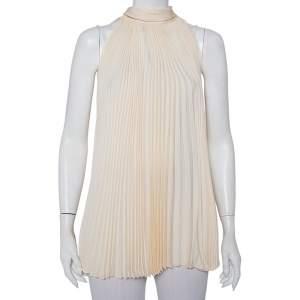 Gucci Cream Plisse Silk Neck Tie Detail Oversized Sleeveless Top M